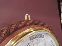 Large Victorian Antique Polished Oak Dumfries Barometer (4 of 6)