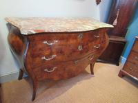 19th Century Antique Walnut Inlaid Bombe Fronted Chest (10 of 11)