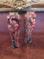 Superb Pair of Antique Moorcroft Spanish on Ochre Vases