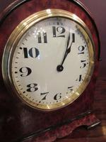 Small Antique Amboyna & Ebony Inlaid Mantel Clock (3 of 8)