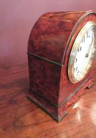 Small Antique Amboyna & Ebony Inlaid Mantel Clock (5 of 8)