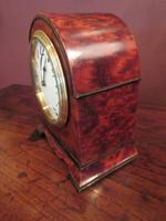 Small Antique Amboyna & Ebony Inlaid Mantel Clock (6 of 8)