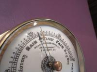 Victorian Antique Brass Bulkhead Marine Barometer (4 of 6)