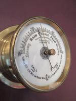 Victorian Antique Brass Bulkhead Marine Barometer (3 of 6)