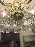 Superb Antique Brass & Crystal Cut Glass Chandelier (8 of 8)