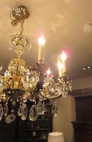 Superb Antique Brass & Crystal Cut Glass Chandelier (3 of 8)