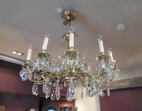 Superb Antique Brass & Crystal Cut Glass Chandelier (7 of 8)