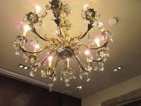 Superb Antique Brass & Crystal Cut Glass Chandelier (2 of 8)