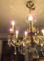 Superb Antique Brass & Crystal Cut Glass Chandelier (6 of 8)