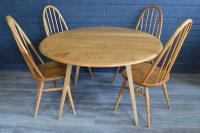 1960s Ercol Table X 4 Ercol Quaker Chairs