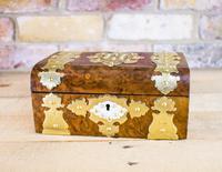 Burr Walnut Brass Overlay Table Box c.1870
