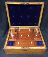19th Century Well Fitted Oak & Inlaid Jewellery Box