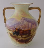 Royal Cauldon Vase by D Birbeck - Highland Cattle