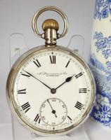 Antique Silver Pocket Watch by Tavannes Watch Co, Retailed by Harrison Liverpool