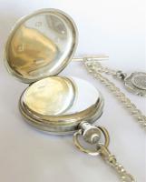 Antique Silver Buren Pocket Watch & Albert (4 of 5)