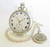 Antique Silver Buren Pocket Watch & Albert