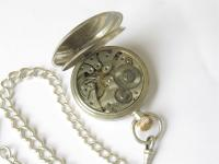 Antique Silver Pocket Watch & Chain (3 of 5)