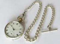 Antique Silver Pocket Watch & Chain (2 of 5)