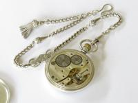 Vintage 1930s Silver Syren Pocket Watch & Chain (3 of 4)