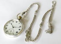 Vintage 1930s Silver Syren Pocket Watch & Chain (2 of 4)