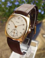 Gents 9 Carat Gold Vertex Cushion Cased Wrist Watch