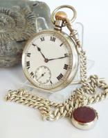 1938 Silver Pocket Watch with Silver Chain