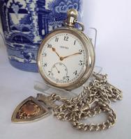 Antique Silver Vertex Pocket Watch & Albert