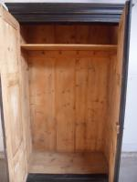 Lovely Victorian Antique Pine Painted Black / Green 1 Piece Wardrobe (8 of 11)