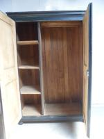 Lovely Georgian Antique Pine Painted Black 1 Piece Child's / Hall Wardrobe (9 of 11)