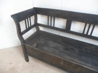 Large Painted Black 3 Seater Antique Pine Hall / Kitchen Box / Settle / Bench (2 of 9)