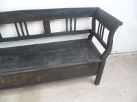 Large Painted Black 3 Seater Antique Pine Hall / Kitchen Box / Settle / Bench (3 of 9)