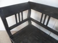 Large Painted Black 3 Seater Antique Pine Hall / Kitchen Box / Settle / Bench (6 of 9)