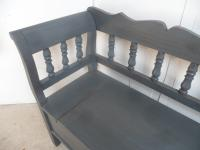 Large Painted Battleship Grey Antique Pine Hall / Kitchen Box / Settle / Bench (5 of 9)