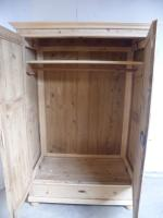 Panelled Antique Pine 2 Door Knockdown Wardrobe to wax / paint (9 of 11)
