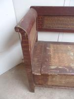 Large Originally Painted Victorian Antique Pine Kitchen Box / Settle / Bench (6 of 10)