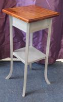 Oak Two Tier Occasional Table / Plant Stand Gray Painted Base