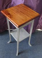 Oak Two Tier Occasional Table / Plant Stand Gray Painted Base (6 of 7)