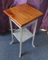 Oak Two Tier Occasional Table / Plant Stand Gray Painted Base (7 of 7)