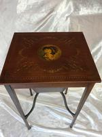 Rare Antique French Small Inlaid Table Satin Walnut Hand Painted Marion Antoinette