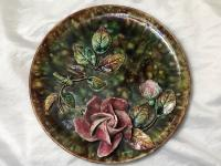 Antique Art Nouveau French Porcelain High Relief Rose Foliage Wall Plate Plaque (2 of 36)