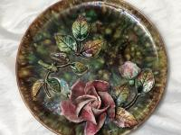 Antique Art Nouveau French Porcelain High Relief Rose Foliage Wall Plate Plaque (3 of 36)