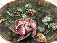 Antique Art Nouveau French Porcelain High Relief Rose Foliage Wall Plate Plaque