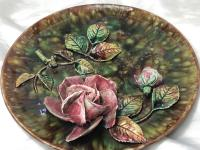 Antique Art Nouveau French Porcelain High Relief Rose Foliage Wall Plate Plaque (15 of 36)