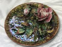 Antique Art Nouveau French Porcelain High Relief Rose Foliage Wall Plate Plaque (12 of 36)