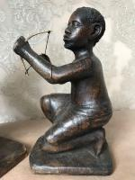 Pair of Small Vintage Tribal Men Dancing African Ethnographic Warrior Statues (24 of 24)