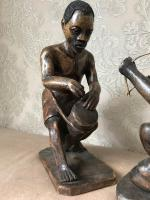 Pair of Small Vintage Tribal Men Dancing African Ethnographic Warrior Statues (23 of 24)