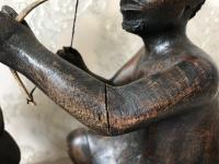 Pair of Small Vintage Tribal Men Dancing African Ethnographic Warrior Statues (21 of 24)