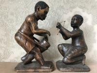 Pair of Small Vintage Tribal Men Dancing African Ethnographic Warrior Statues (18 of 24)