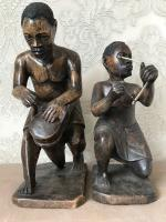 Pair of Small Vintage Tribal Men Dancing African Ethnographic Warrior Statues