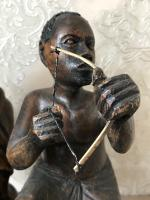 Pair of Small Vintage Tribal Men Dancing African Ethnographic Warrior Statues (15 of 24)
